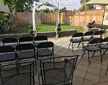 Garden Pation location offered by Reverend Kindra for Simple Ceremonies, Budget weddings, Civil Ceremonies, and Elopement Packages.